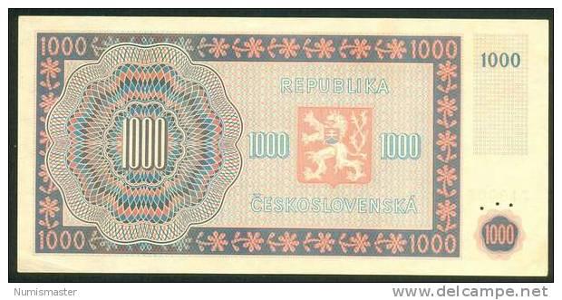 CZECHOSLOVAKIA , 1000 KORUNA 16.5.1945 , P-74s ,SPECIMEN , AUNC - Tchécoslovaquie