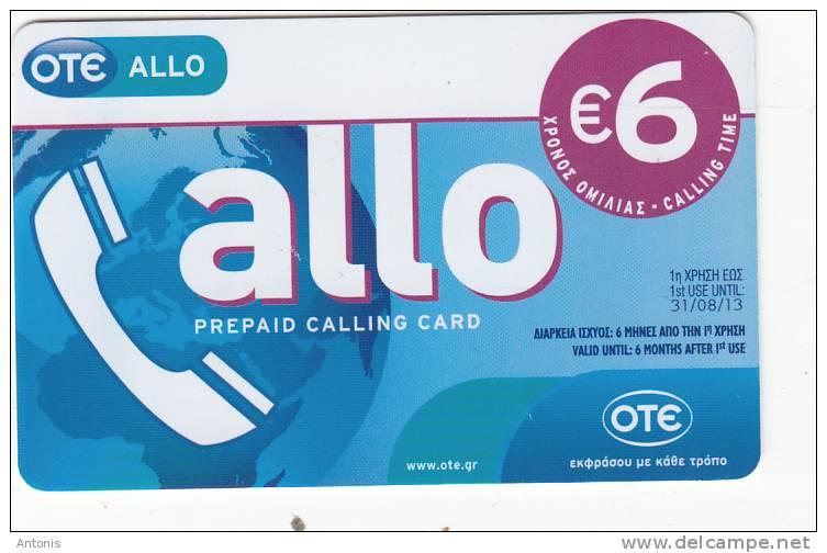 GREECE - Allo Card, OTE Prepaid Card 6 Euro, Tirage 20000, 03/12, Used - Greece