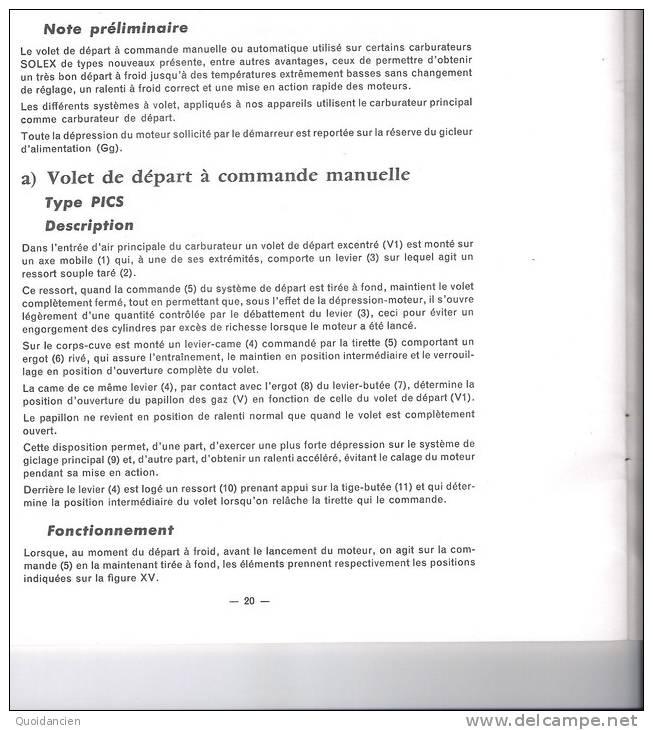Livret  10/10/1964  -  Les Dispositifs De  DEPART  SOLEX  à  Commande Manuelle  Ou Automatique -  Notice N°77 - Wissenschaft & Technik
