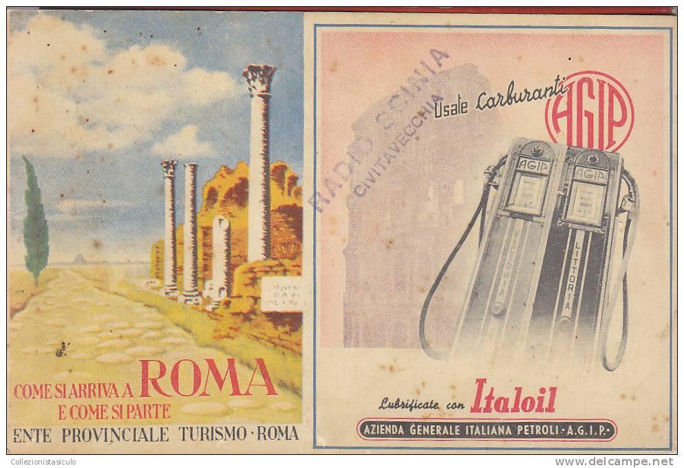 $-346- Cartina Di Roma - 63 Itinerari 1939 - Ala Littoria - Agip Italoil - Carte Stradali