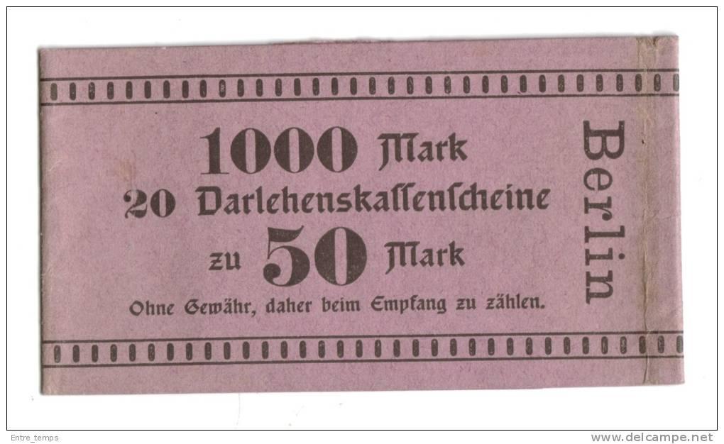 Bracelet Papier Billet Allemand 20x50 Mark Darlehenskaffenfcheine - [ 2] 1871-1918 : Impero Tedesco
