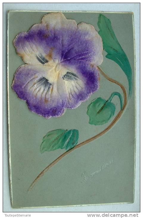 Carte En Relief Avec Une Fleur Collée En Velour Violette Je Vous Aime - Fantaisies
