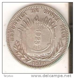 MONEDA DE PLATA DE COSTA RICA 25 CENTAVOS AÑO 1890 Y REPICADA PARA 50 CENTAVOS EN1923 (MUY RARA) (COIN) SILVER,ARGENT. - Costa Rica