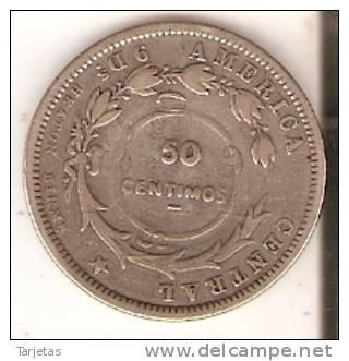 MONEDA DE PLATA DE COSTA RICA 25 CENTAVOS AÑO 1893 Y REPICADA PARA 50 CENTAVOS  (MUY RARA) (COIN) SILVER,ARGENT. - Costa Rica