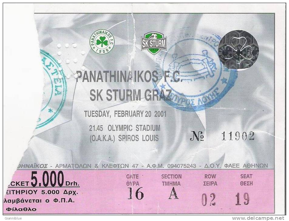 Panathinaikos Vs SK Sturm Graz/Football/UEFA Champions League Match Ticket - Tickets D'entrée