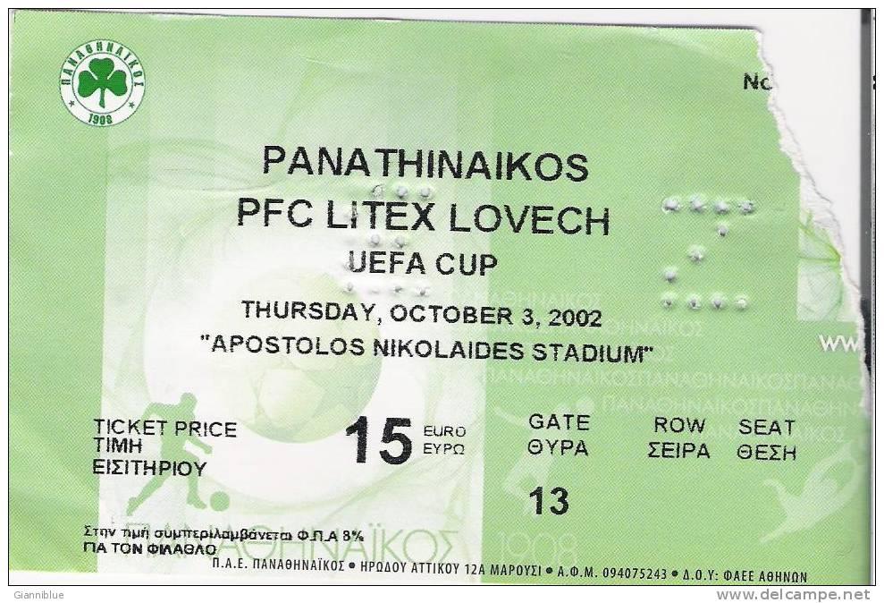 Panathinaikos Vs PFC Litex Lovech/Football/UEFA Cup Match Ticket - Tickets D'entrée