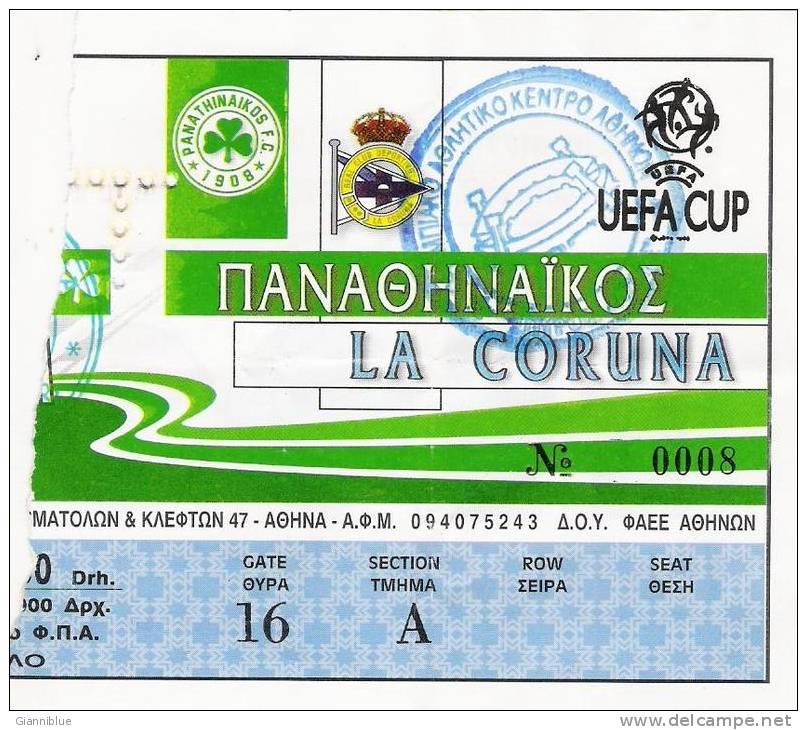 Panathinaikos Vs Deportivo La Coruna/Football/UEFA Cup Match Ticket - Tickets D'entrée