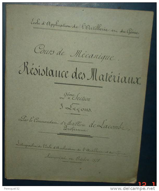 Ecole D´Application De L´artillerie Et Du Génie.Cours De Mécanique .Resistance Des Matériaux.99 Pages - Libri