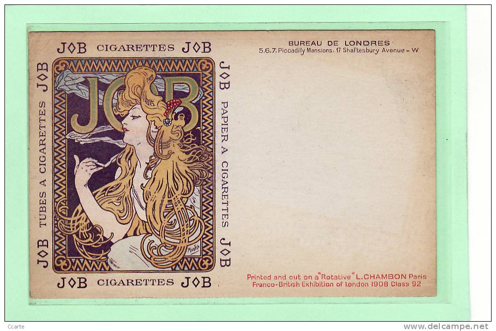 """ILLUSTRATEUR / ALPHONSE MUCHA / Collection JOB N°6 """"femme Blonde Fumant"""" Variété Dite """"du Bureau De Londres - Mucha, Alphonse"""