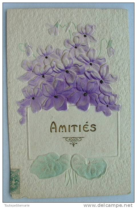 Carte En Relief Fleurs Violettes Amitiés - Fantaisies
