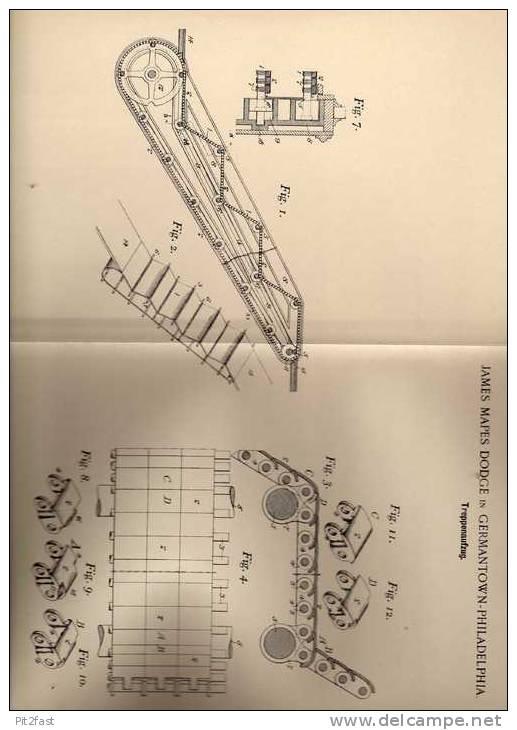 Original Patentschrift - J. Dodge In Germantown - Philadelphia , 1899 , Aufzug Für Treppe , Lift , Rolltreppe !!! - Architecture
