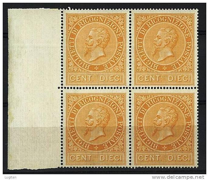 Filatelia - RICOGNIZIONE POSTALE - RE VITTORIO EMANUELE II - N° 1 GOMMA INTEGRA - QUARTINA  BDF - RARA ** MNH - 1861-78 Vittorio Emanuele II