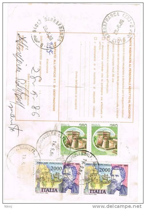 374-Italia Storia Postale 19.5.86 Barletta(BA) /Barrafranca(EN) Affr. 2 X  £. 2.000 + 2 X £. 250 - 6. 1946-.. Repubblica
