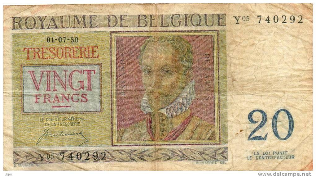 - Billet De 20 Francs 01.07.50. - Belgio