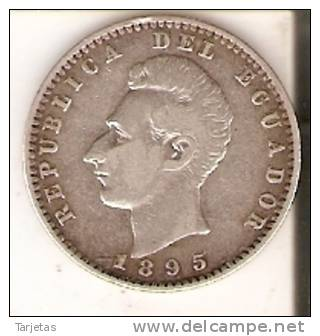 MONEDA DE PLATA  DE 2 DÉCIMOS DE SUCRE DEL AÑO 1895 -PHILADELFIA- (COIN) SILVER,ARGENT. - Ecuador