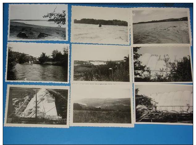 9 Photos Originales Annee 1950 Lac Des SETTONS +barrage En Construction(Nievre Morvan) - France