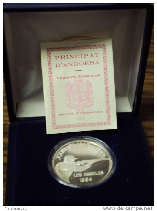 ANDORRA-1 PIEZA DE  PLATA SERVEI D´EMISSIONS XXIII OLIMPIADA LOS ANGELES 1984  M. ABAD Nº 26              M. ABAD Nº - Andorra