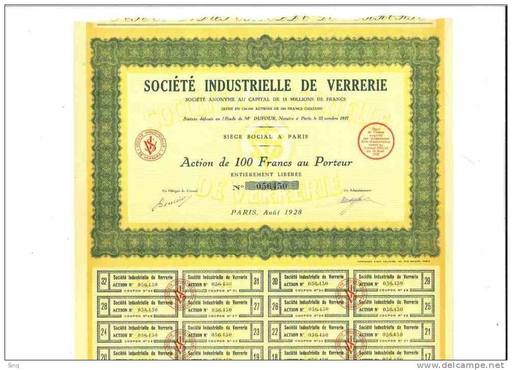 Société Industrielle De Verrerie Août 1928 - Actions & Titres