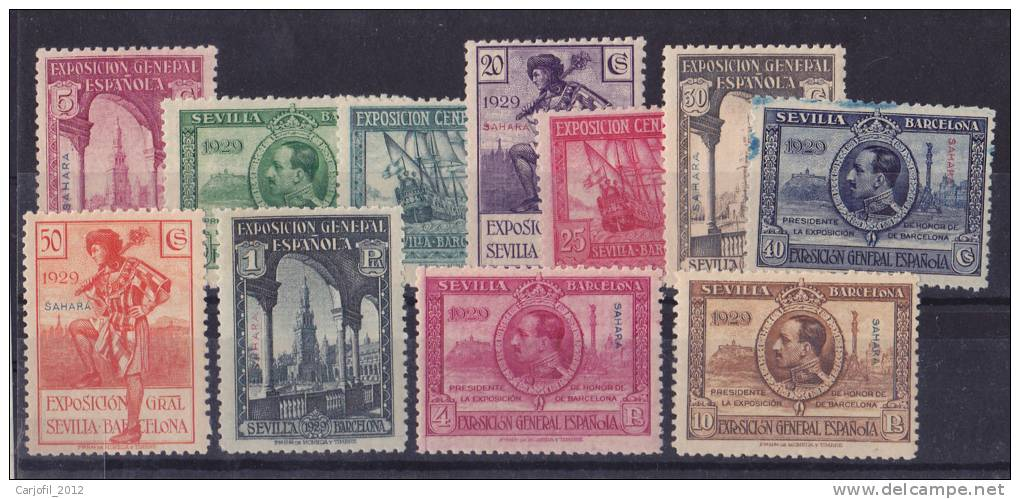 SAHARA - EDIFIL Nº 25/35** - SELLOS DE ESPAÑA, EXPOSICIONES DE SEVILLA Y BARCELONA - AÑO 1929 - Spanish Sahara
