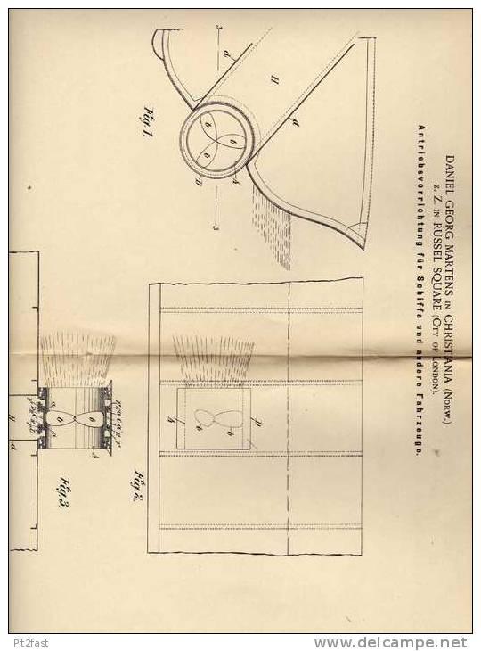 Original Patentschrift - D. Martens In Russel Square Und Christiania , 1900 , Antrieb Für Schiffe , Schiff , Boot!!! - Boats
