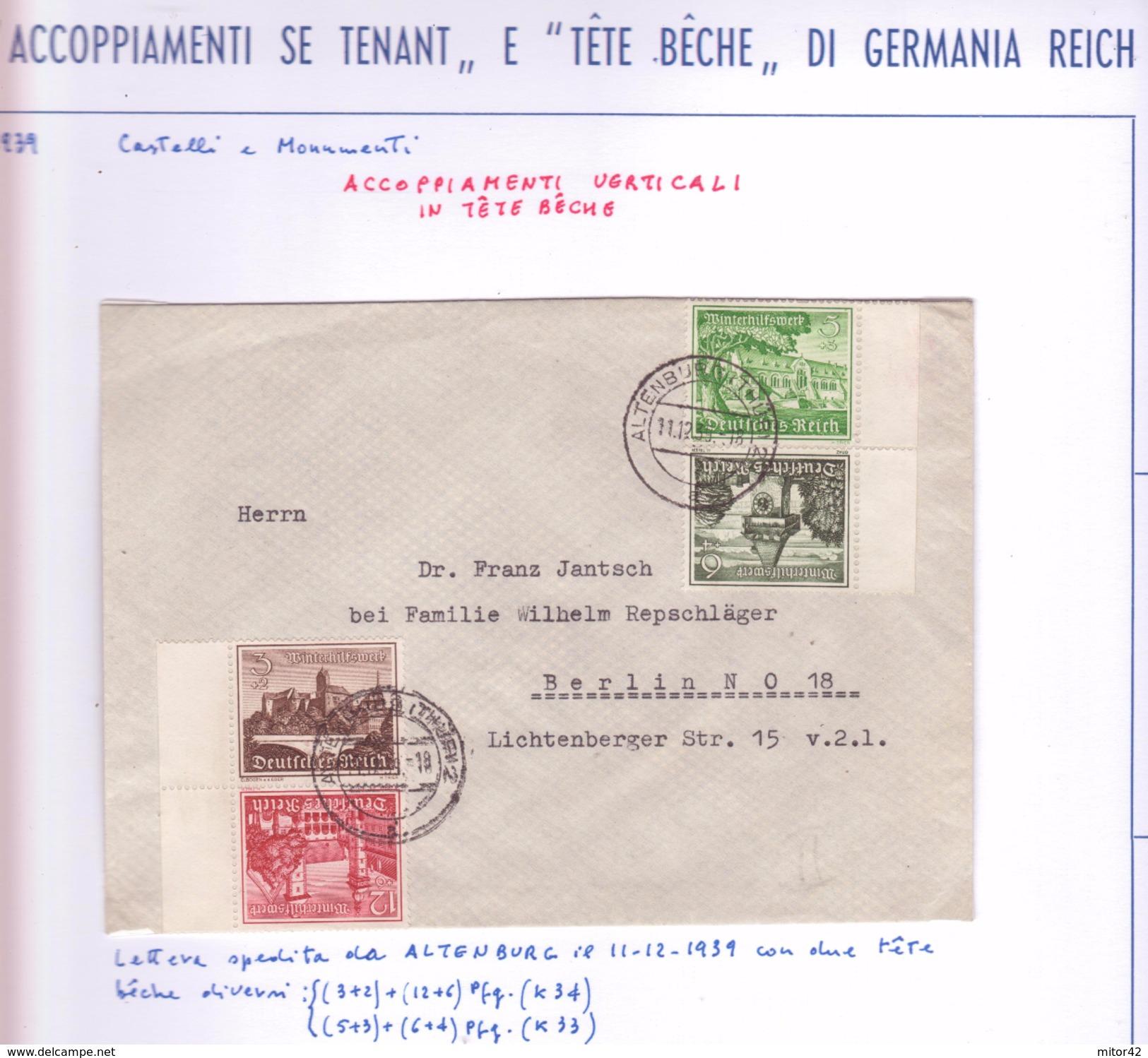 """Germania Reich:Specializzazione:""""Accoppiamenti Se-tenant E Tête-bêche""""-""""Zusammendruck Und Tete-Becher - Se-Tenant"""