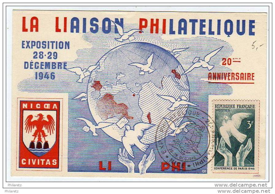 CP Souvenir Exposition Philatélique Nice 1946 - Postmark Collection (Covers)