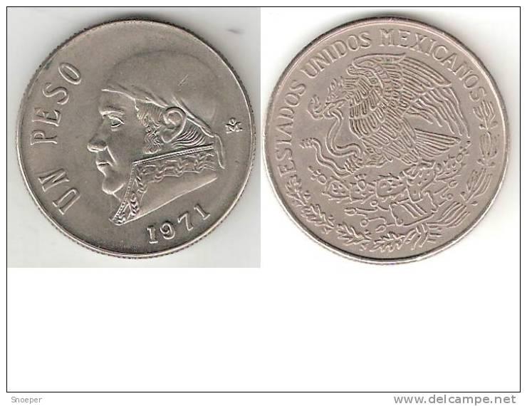 Mexico 1 Peso 1971    Km 460    Xf+ - Mexico