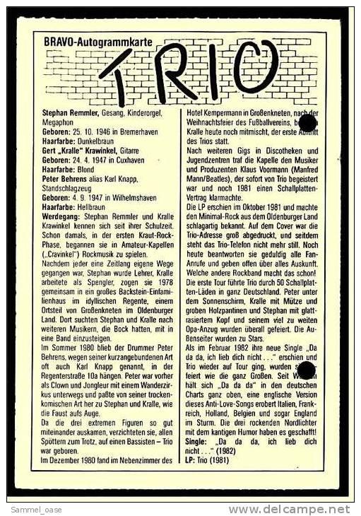 Alte Repro Autogrammkarte  -  Musik-Band Trio  -  Ca. 1982 - Autogramme