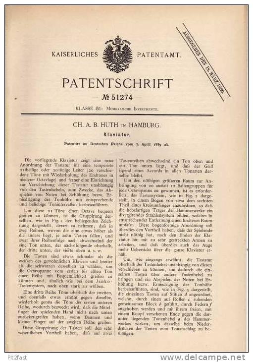Original Patentschrift - C. Huth In Hamburg , 1889 , Klaviatur , Klavier , Pianio , Flügel !!! - Musikinstrumente