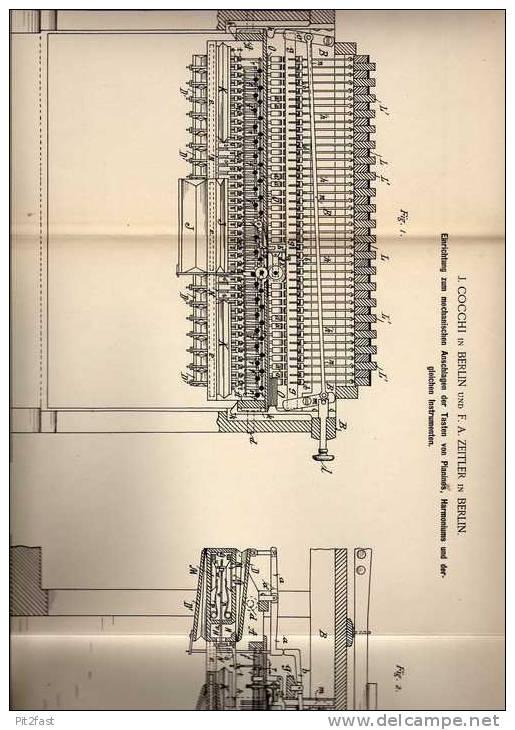 Original Patentschrift - F.A. Zeitler In Berlin , 1889 , Tasteneinrichtung Für Pianino , Harmonium !!! - Musikinstrumente