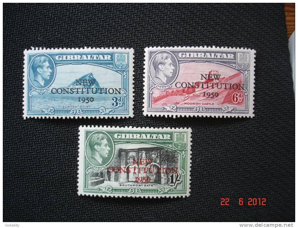 Gibraltar 1950   K.George VI   3d, 6d, 1/-     SG141-143  MH - Gibraltar