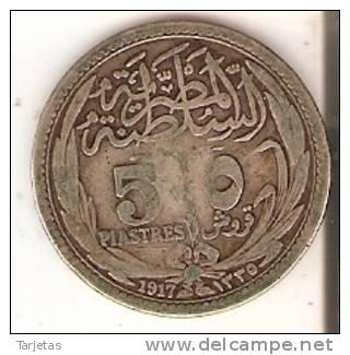 MONEDA DE PLATA DE EGIPTO DE 5 PIASTRES DEL AÑO 1917 (COIN) SILVER-ARGENT - Egipto