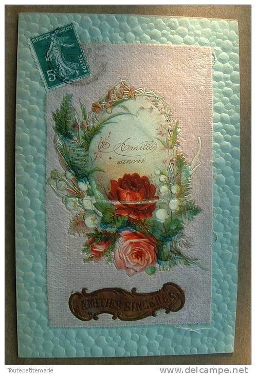 Carte Gauffrée Sur Les Bords - Chromo Contre Collé Velour Rose Fleurs Amitié Sincère - Fantaisies