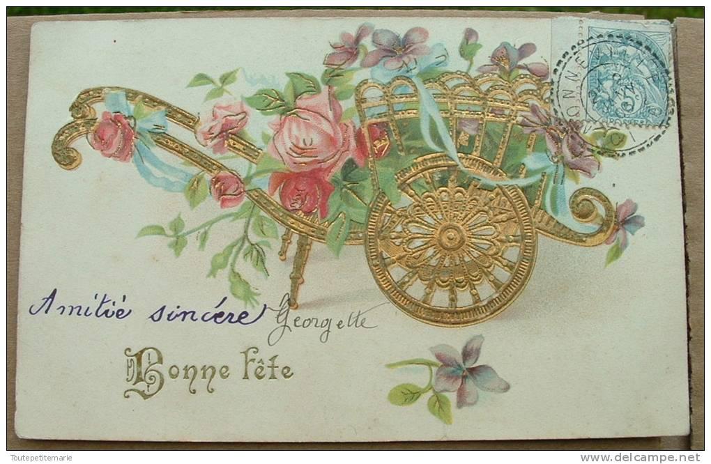 Carte Gauffrée Charette De Fleurs Bonne Fete - Autres
