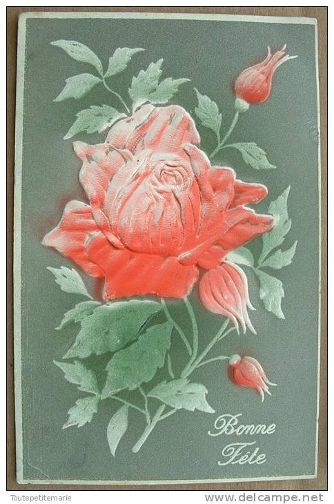 Carte Gauffrée Grosse Fleur Rose Bonne Fete - Fantaisies