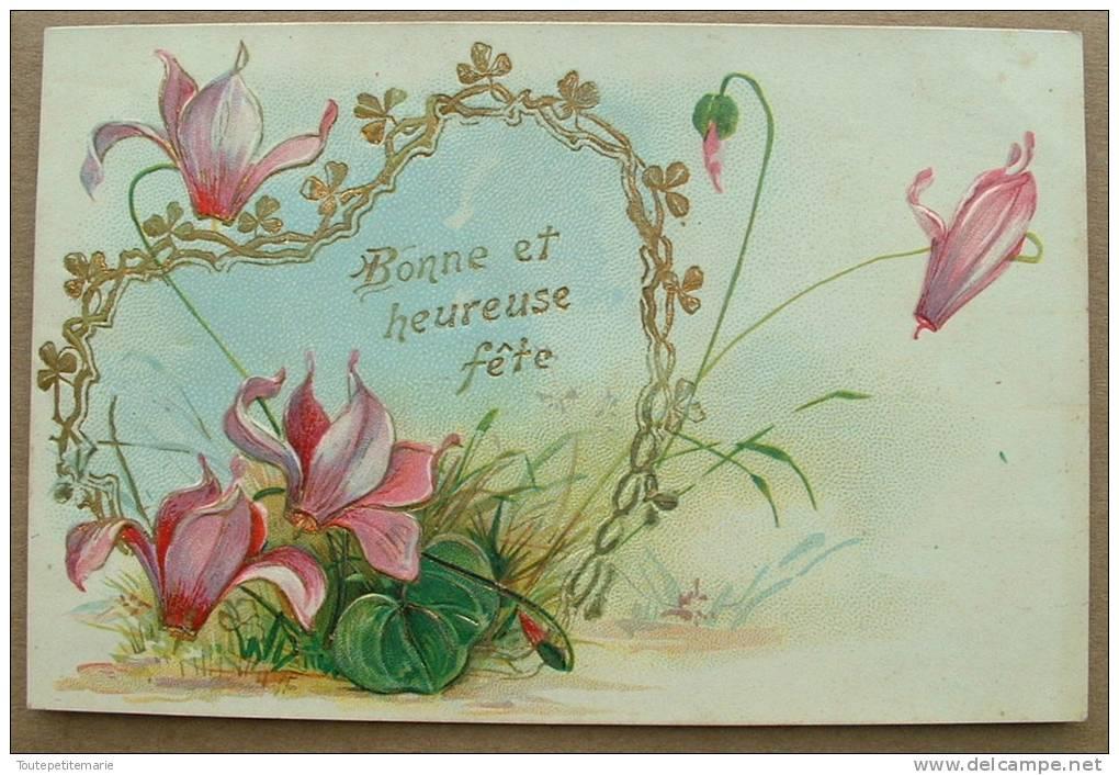 Carte Gauffrée Coeur Dorée Fleurs Violettes Bonne Et Heureuse Fete - Autres