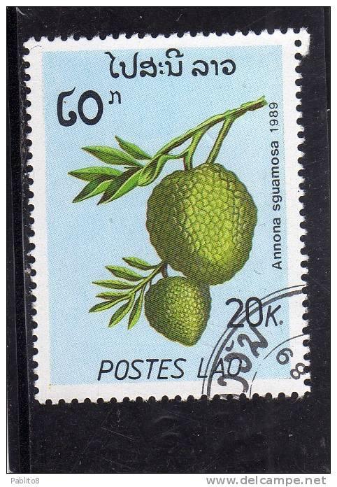 LAOS LAO 1989 FRUITS PLANTS PIANTE DA FRUTTO ANNONA SGUAMOSA FRUIT - FRUTTA USED - Laos