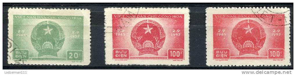 NORTH VIETNAM 1957 - Sc.59-60 (Mi.61-62, Yv.127-128) Incl. Shades Used  Set (VF) - Vietnam
