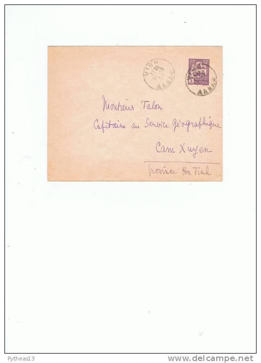 INDOCHINE - Entier Postal Enveloppe 5cents Violet  Oblitéré VINH - Briefe U. Dokumente