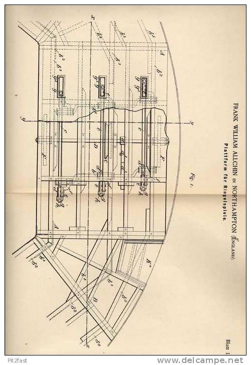 Original Patentschrift - F. Allchin In Northampton , England , 1889 , Plattform Für Ringelspiele , Karussell !!! - Toy Memorabilia