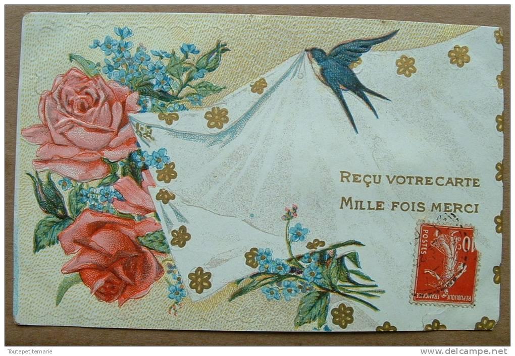 Carte Gauffrée Hirondelle Roses Reçu Votre Carte Mille Fois Merci - Autres