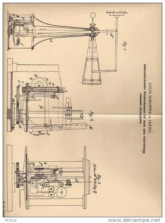 Original Patentschrift - Selbstaufzeichnender Winddruckmesser , 1903 , L. Schopper In Leipzig , Wetter , Wetterstation ! - Technics & Instruments