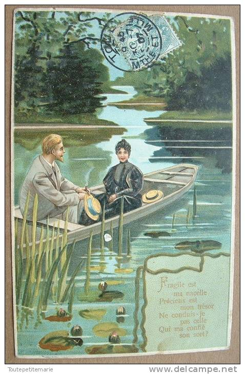 Carte Gauffrée Un Couple Dans Une Barque  Avec Des Roseaux - Autres