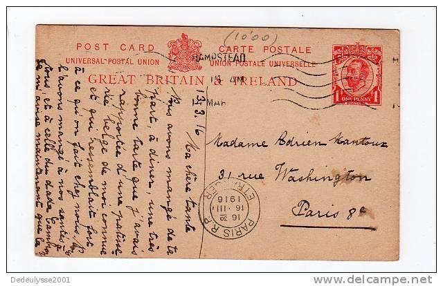 Jui12    55988      Entier Postal   Grande Bretagne 1916 - Interi Postali