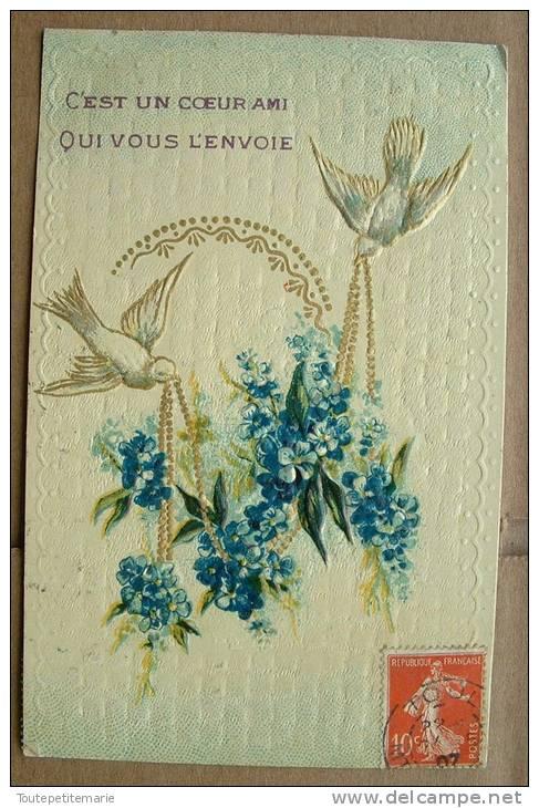 Carte Gauffrée Deux Tourterelles Appotent Des Fleurs Bleues - Fantaisies