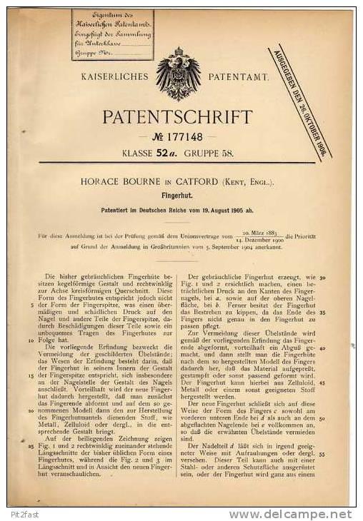 Original Patentschrift - H. Bourne In Catford , England , 1905 , Fingerhut !!! - Ditali Da Cucito
