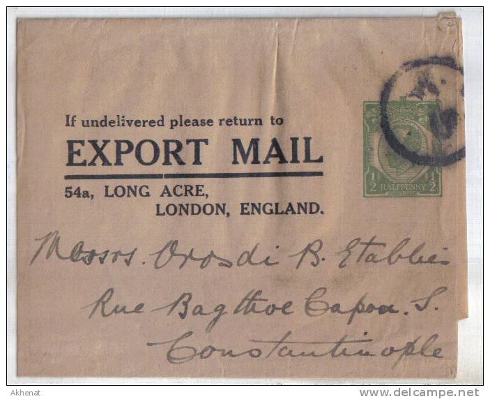 ENG71 - U.K. ,  FASCETTA EXPORT MAIL Diretta In Costantinople . Poco Fresco - 1902-1951 (Re)