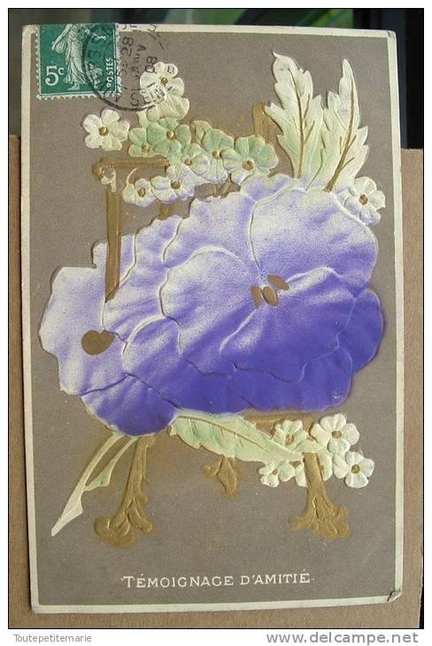 Carte Gauffrée Fleurs Violettes Temoignege D'amitié - Autres