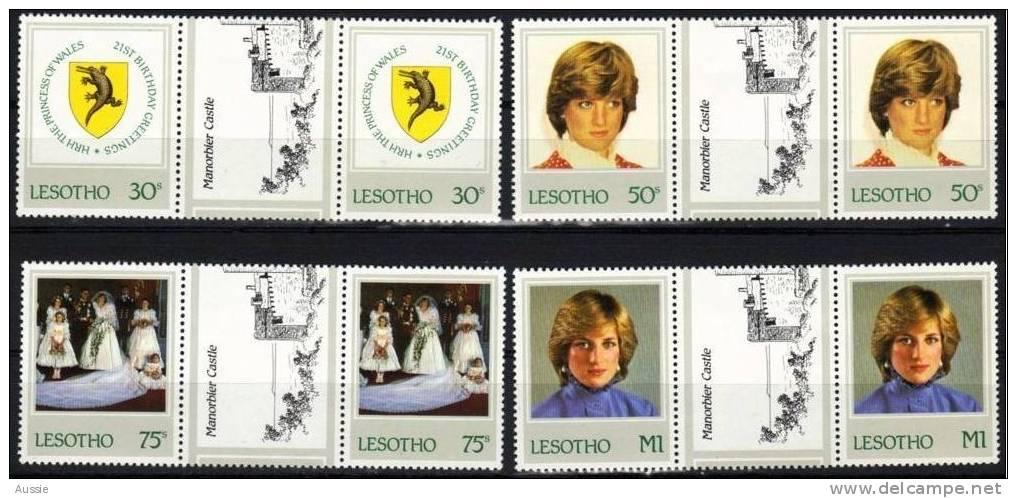 Lesotho 1982 Yvertn° 498-501 *** MNH Paire Brugpaar Cote 76 FF Princess Diana - Lesotho (1966-...)