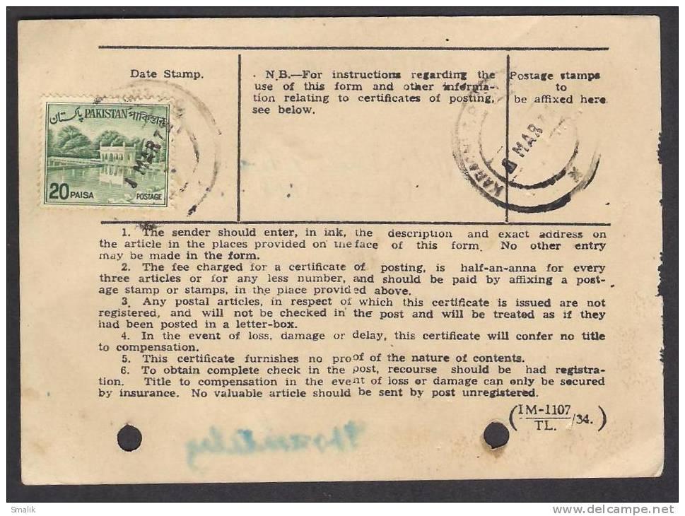 PAKISTAN Postal History, Shalimar Garden, CERTIFICATE OF POSTING 1972 KARACHI G.P.O. Next Scan - Pakistan